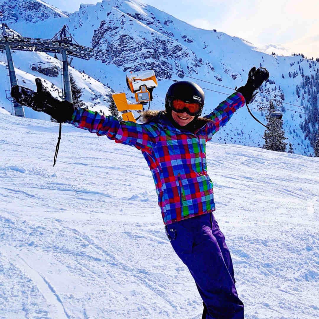 Steffi beim Snowboarden