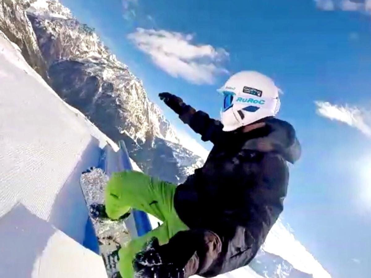 Fitness Trainer Daniel beim Snowboarden
